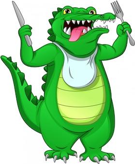 Crocodilo bebê fofo segurando culinária