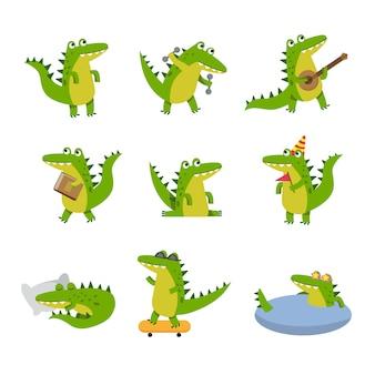 Crocodilo bonito dos desenhos animados em diferentes situações, personagens coloridos ilustrações