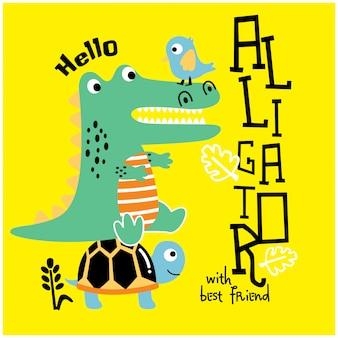 Crocodilo brincando com amiguinho, ilustração vetorial