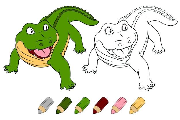 Crocodilo de desenhos animados para colorir livro.
