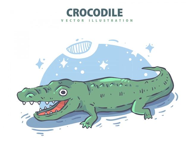 Crocodilo desenhado de mão. ilustração em vetor crocodie