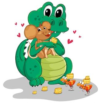 Crocodilo e rato comendo queijo
