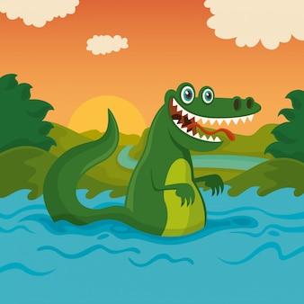 Crocodilo em estado selvagem