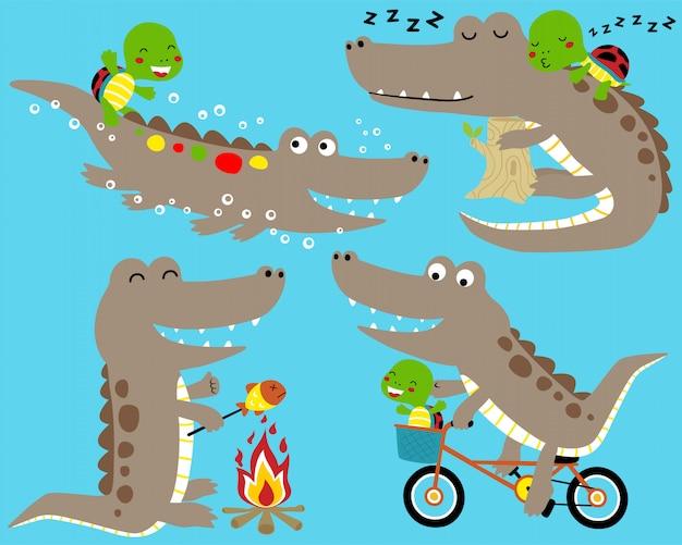 Crocodilo engraçado conjunto de desenhos animados com pequena tartaruga