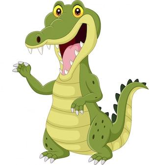 Crocodilo engraçado dos desenhos animados, isolado no branco