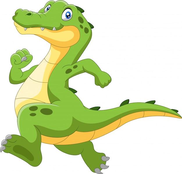Crocodilo feliz dos desenhos animados, correndo rápido