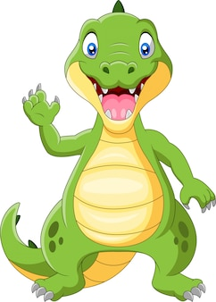 Crocodilo feliz em pé e acenando