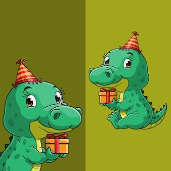 Crocodilo fofo carregando uma caixa de presente em aniversário
