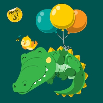 Crocodilo fofo flutuando com balão. arte cortada em papel.