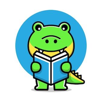 Crocodilo fofo lendo um livro de ilustração vetorial de desenho animado