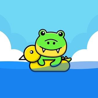 Crocodilo fofo nadando com ilustração de anel de natação