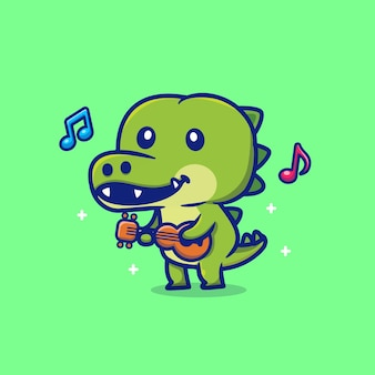 Crocodilo fofo tocando violão