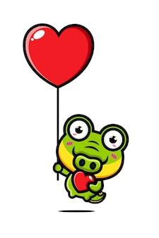 Crocodilo fofo voando com um balão do amor