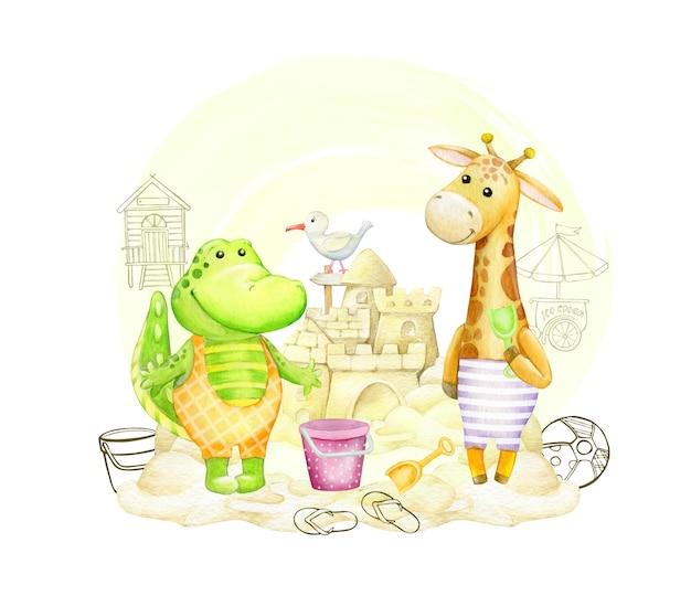 Crocodilo, girafa, na praia construindo um castelo de areia. conceito de aquarela.