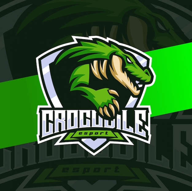 Crocodilo jacaré mascote esport logotipo