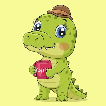 Crocodilo pequeno bonito isolado em fundo amarelo.
