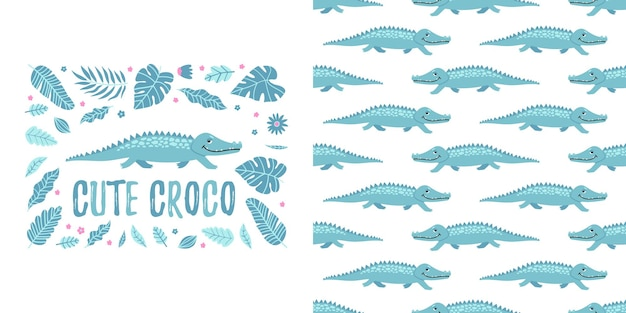Crocodilo perfeito e folhas com design de pijama fofo