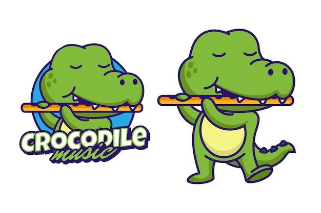 Crocodilo tocando flauta com logotipo