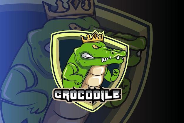 Crocodilo usando coroa modelo de logotipo da equipe e-sports