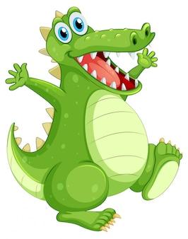 Crocodilo verde em pé no branco