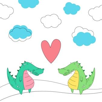 Crocodilos no amor. ilustração vetorial no estilo doodle. desenho animado.