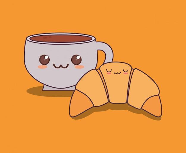 Croissant delicioso e café kawaii