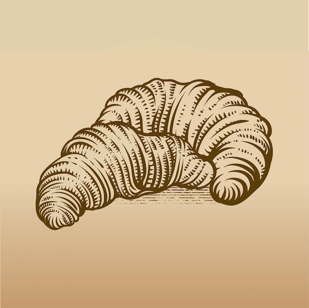 Croissant desenhado de mão no estilo de gravura