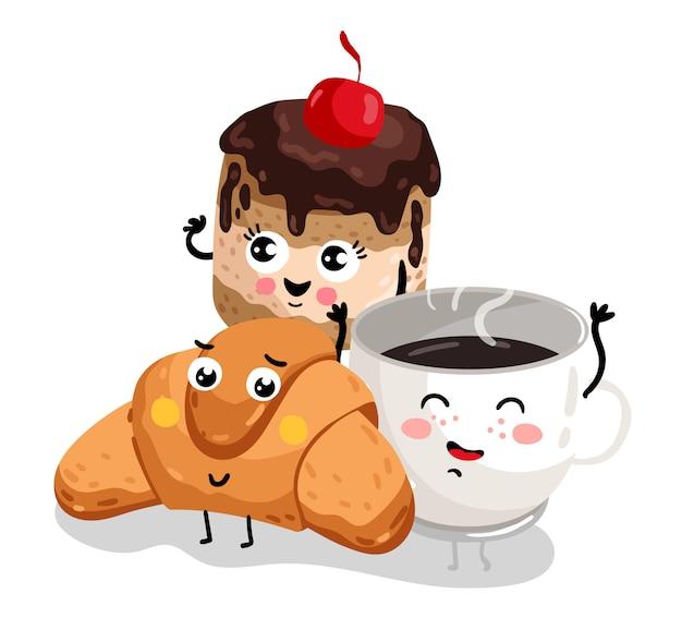 Croissant engraçado, bolo e personagem de xícara de café