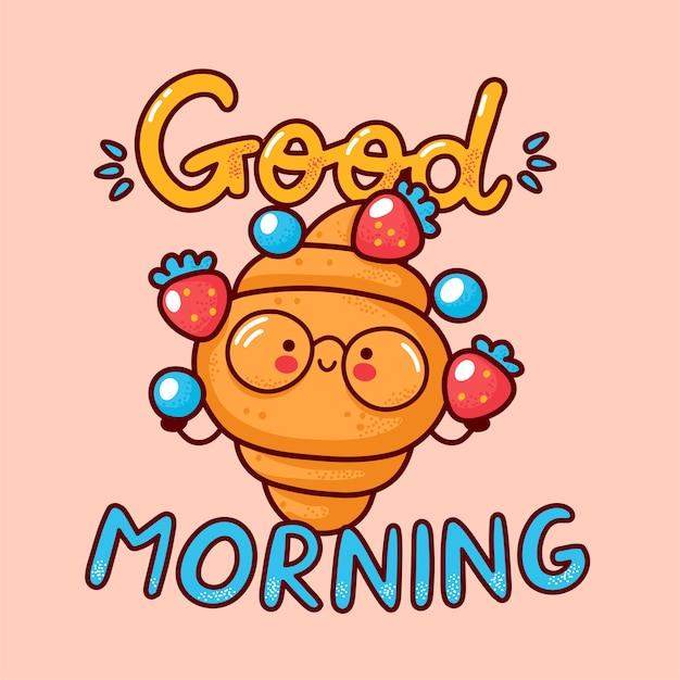 Croissant fofo e feliz fazer malabarismos com morango e mirtilo. ícone de personagem kawaii dos desenhos animados de linha plana. mão-extraídas ilustração do estilo. bom dia, cartão, conceito de cartaz de croissant