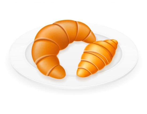 Croissants deitado em uma ilustração do vetor de placa