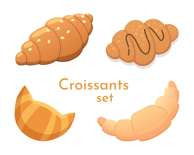 Croissants frescos na ilustração de estilos diferentes. conjunto de ícones de croissant.