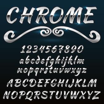 Cromo brilhante retrô, fonte vintage, tipo de letra, mado de metal ou aço