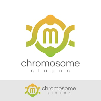 Cromossoma inicial letra m logo design