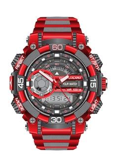 Cronógrafo cinzento vermelho realístico do relógio do relógio no fundo branco.