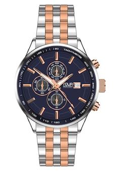Cronógrafo relógio relógio realista de aço inoxidável cobre.