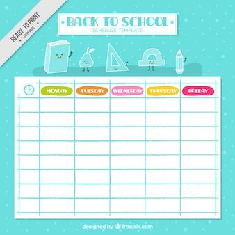 Cronograma agradável da escola com desenhos