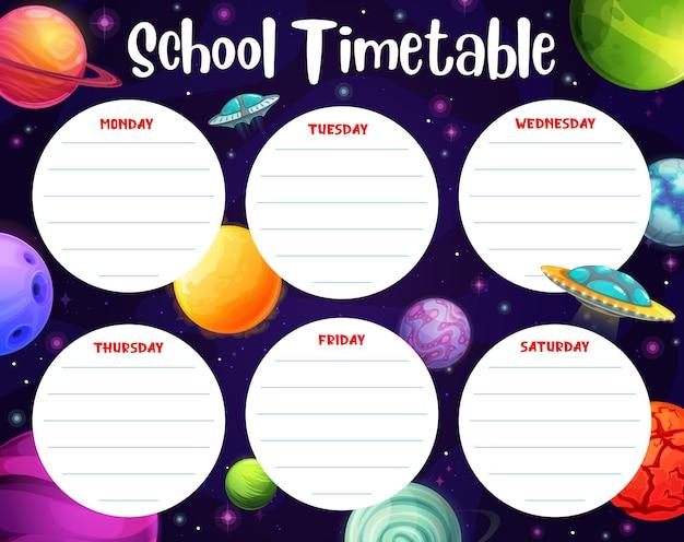 Cronograma com planetas espaciais, planejador semanal da escola