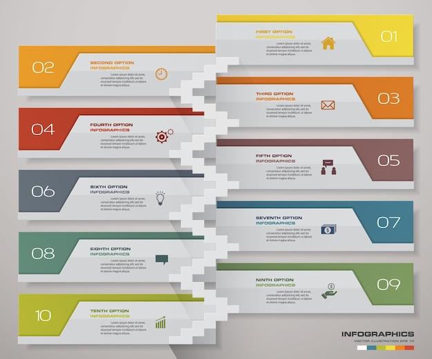 Cronograma de 10 passos com escada para apresentação.