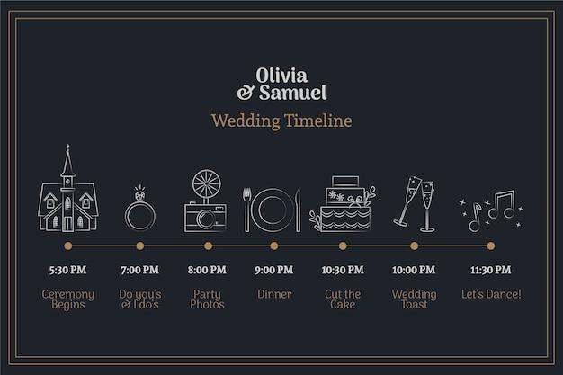 Cronograma de casamento bonito mão desenhada