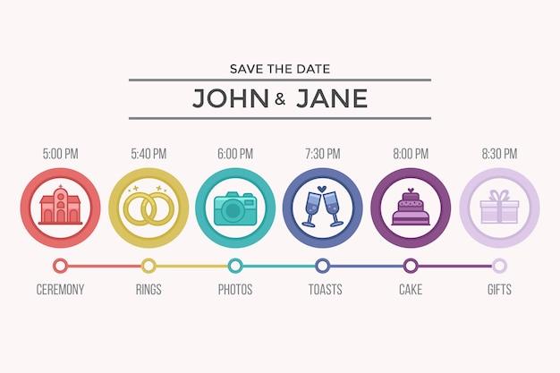 Cronograma de casamento colorido em estilo linear