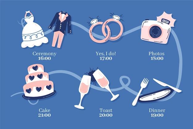 Cronograma de casamento colorido mão desenhada