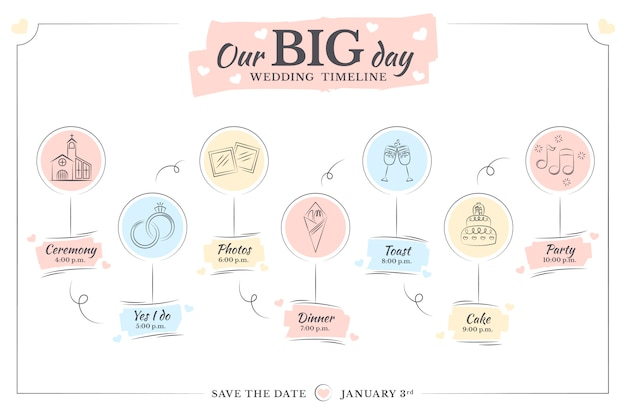 Cronograma de casamento de modelo desenhado de mão