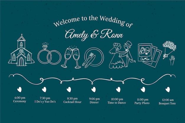 Cronograma de casamento na mão desenhada estilo