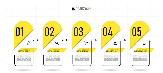 Cronograma de cinco etapas modelo de design de infográficos.