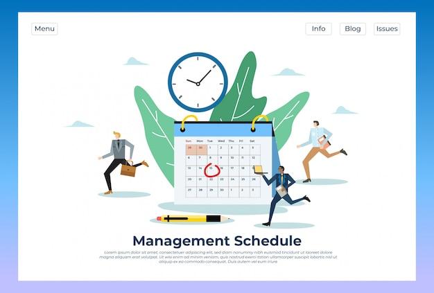 Cronograma de gestão. ilustração no modelo de site da página inicial do site