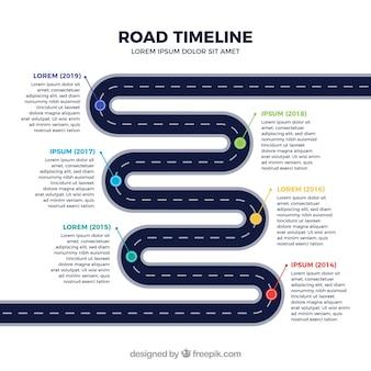 Cronograma de infográfico com o conceito de estrada