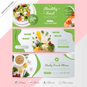 Cronograma de mídia social de comida saudável cobrir modelo de banner com foto