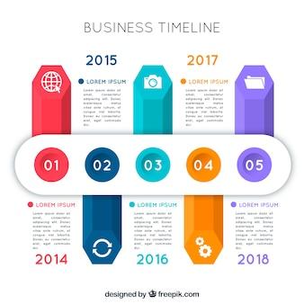 Cronograma de negócios coloridos com design plano