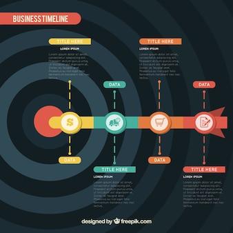 Cronograma de negócios com design plano