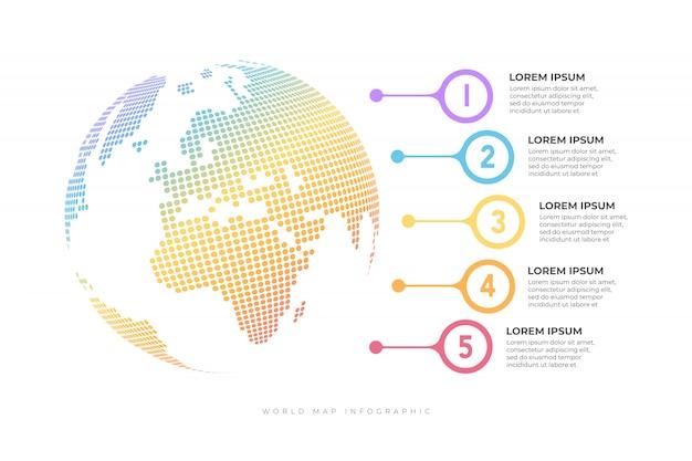 Cronograma de negócios com modelo de infográfico do globo.